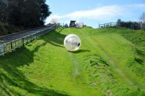 zorbing ball going down a field of grassy hill