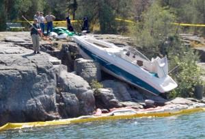 boat stuck in rocks